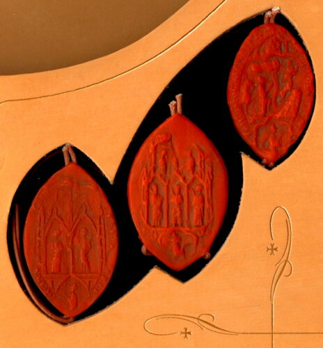 Vatican Triple Pontifical Cardinal Seals, on the 'Chinon Parchment' (1305 AD) Secret Archives replica set, authenticated reproduction 2007 AD