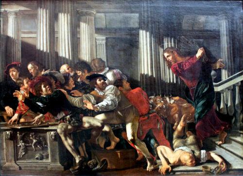 'Christ Expulses the Money Changers' (1610 AD) by Cecco del Caravaggio