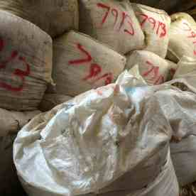 bales of wool piled high at the Wool Brokers