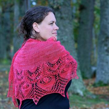Emily K Williams in her design Ruth's Shawl © Emily K Williams