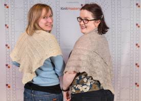 Here are Varje and I in our Wovember pattern swap shawls