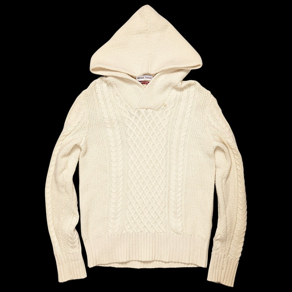 Michael Bastian hooded cable knit wool and cashmere sweater