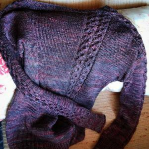 Someday Sweater purple cables Lise Condis