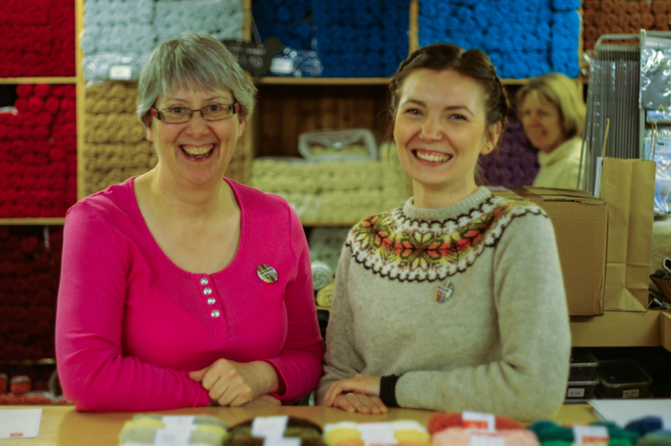 Sandra and Ella - super amazing knitters of Shetland
