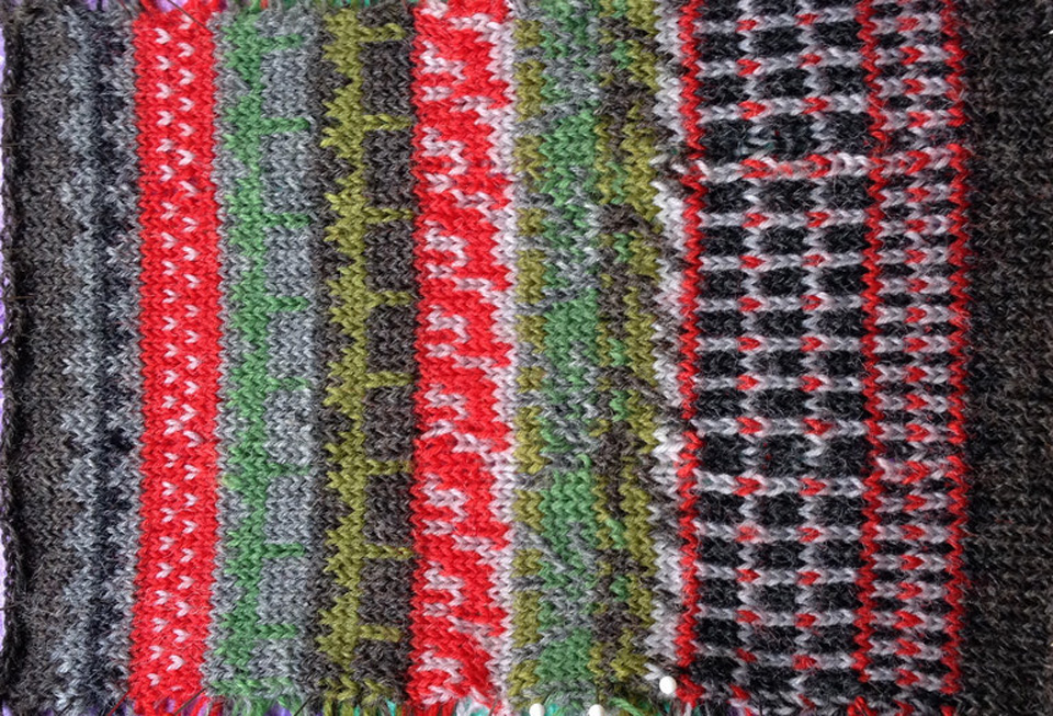 Paisley's gorgeous swatch in reds, greys and greens celebrating a range of shapes and details found in different environments