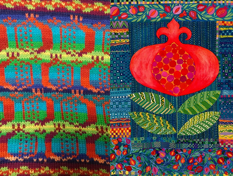 Nisseknits' painting-inspired pomegranate swatch