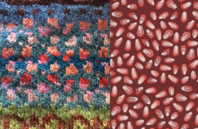 Pomegranate seeds in stranded colourwork, inspired by pomegranate seeds on printed fabric (swatch by Kizmet, fabric design by murex_textile_designs)