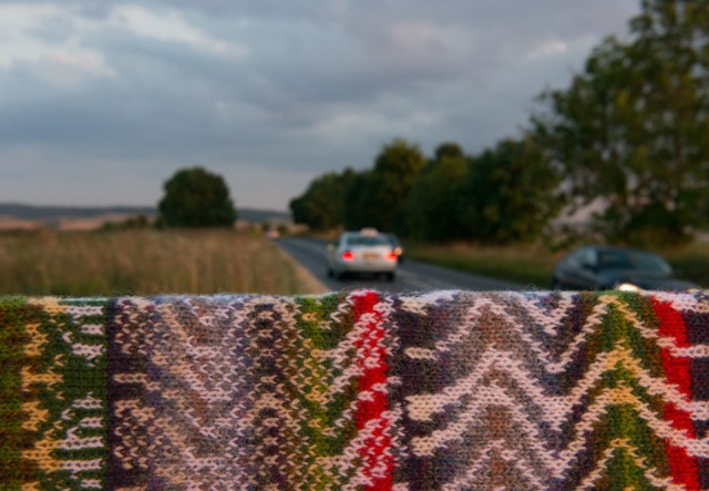 The A4074 road in Oxfordshire and the stranded colourwork which it inspired