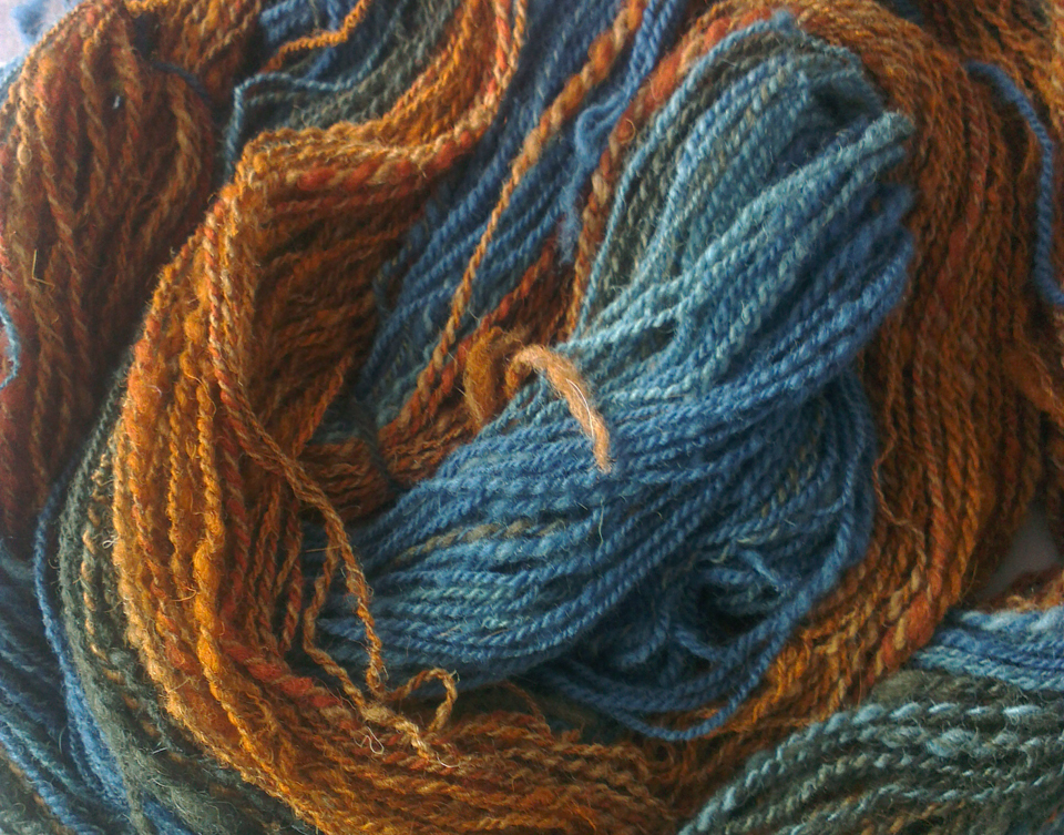 Manx Loaghtan and Whitefaced Woodland fleece overdyed with indigo and other plant dyes, handspun by me
