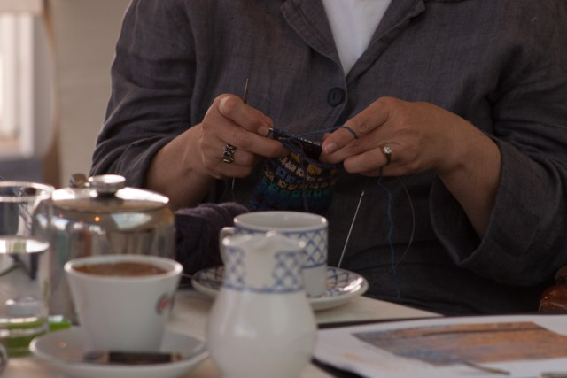 So happy to have been allowed to record the industrious quiet of our knitting time at Gwlana!