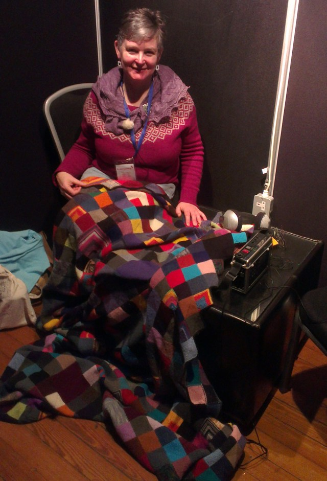 Cathy Scott's AMAZING blanket - a knitted record of time spent waiting for, and supporting, her daughter in athletics training. Go give it hearts on Ravelry, IT'S AMAZING!