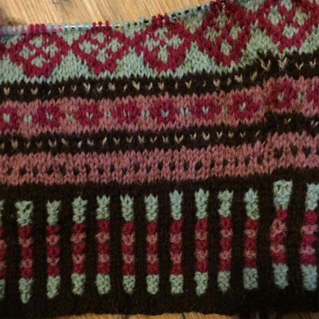 """I like Elizabeth Zimmermann and Meg Swansen's idea of making hats for fair isle swatches. Even the one I am hating right now on Instagram I will finish and someone will get a lovely warm hat for a gift. In fact, my mother has already declared that she wants it. I don't always swatch for color choices though. Sometimes if I'm just making a small project like mittens or socks, the project is the swatch and I can rip it out and start over if I'm not happy with the results"" - Donna Druchunas and her current hat/swatch"
