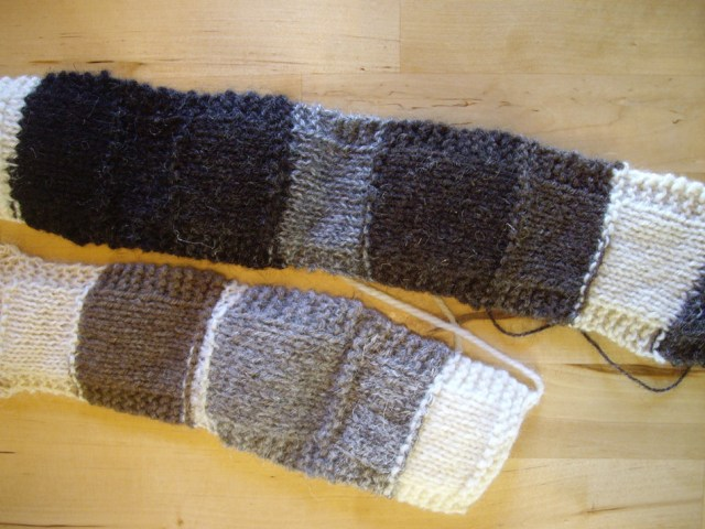 Rare breed/breed-specific swatches from Deb Robson's class at UK Knit Camp