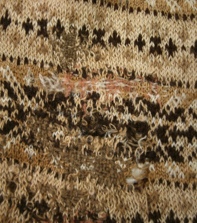 A much darned and very poignant sweater from the Shetland Museum archives which will feature in Susan's forthcoming book