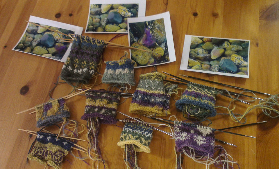 "Some of the beautiful swatches produced during Shetland Wool Week and the ""Colours of Shetland"" workshop"