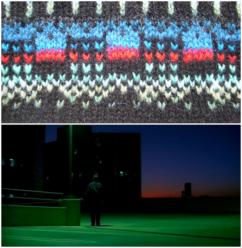 the building in the film and in the knitting...