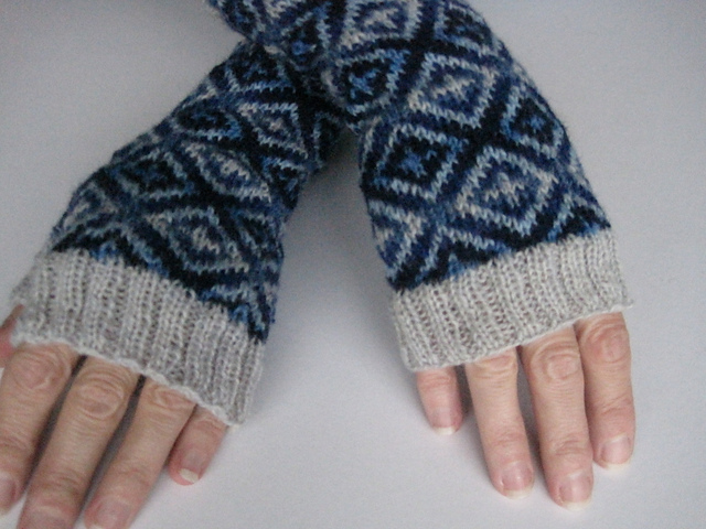 Bev's beautiful blue mitts, based on a pattern found on a chinaware bowl