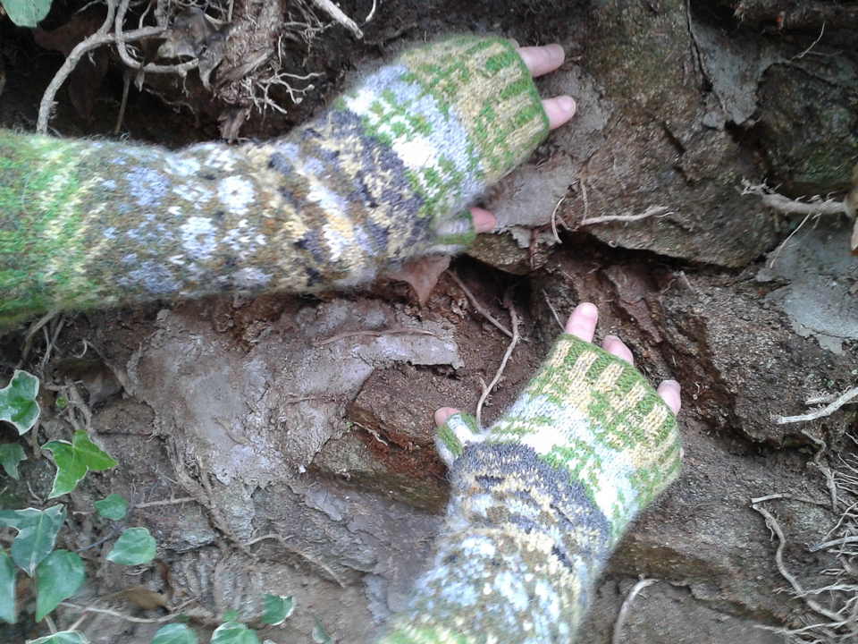 Labistrake has connected her beautiful mitts with an old stone wall local to her