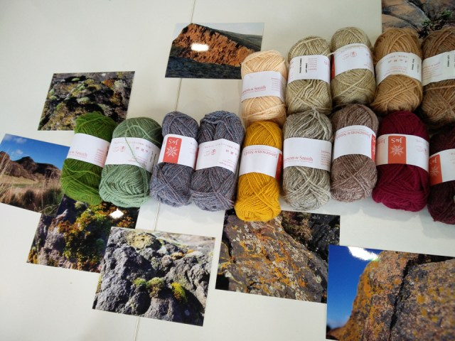 some of the yarns laid out for 'Colours of Edinburgh'