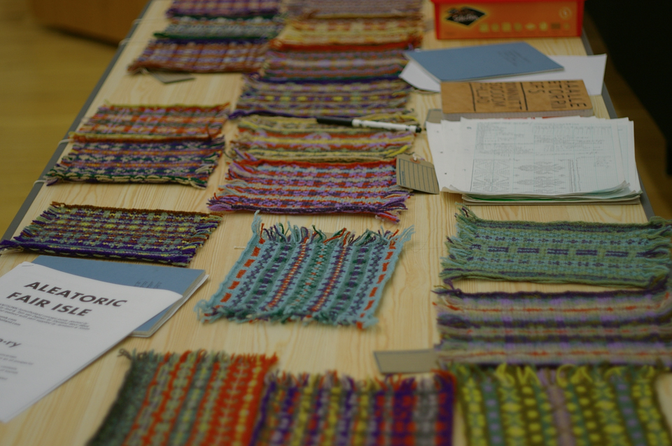 Fair Isle swatches knit using die rolls to decide shading sequences and patterns - a project by myself and Tom van Deijnen
