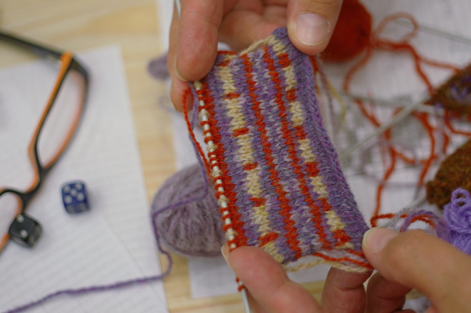 A swatch created at our workshop at the Shetland Museum & Archives, using die rolls and our worksheet