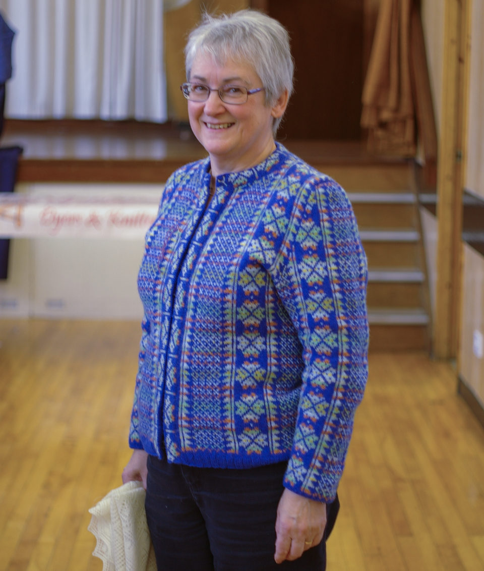 Hazel Tindall in a beautiful handknit sweater of her own creation