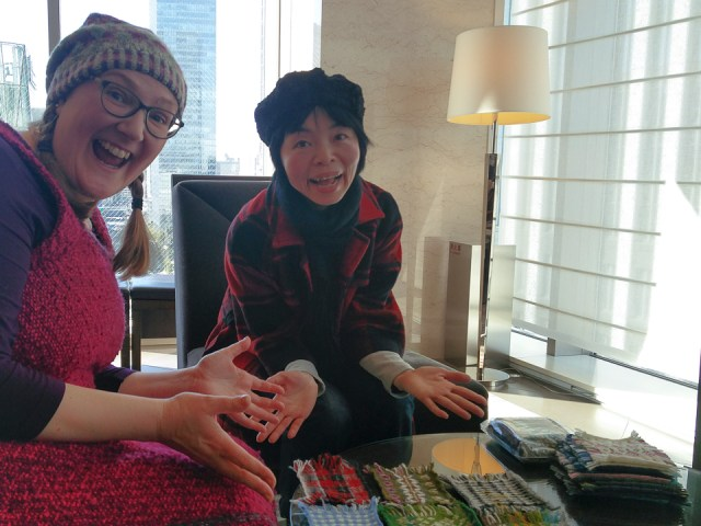 Felix and Yumi in Tokyo, with Yumi Shimada's AMAZING stranded colourwork swatches