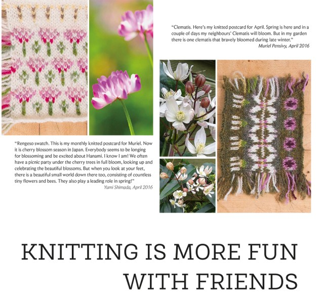 """Details from the Knitted Correspondence chapter of the KNITSONIK Stranded Colourwork Playbook; the caption """"KNITTING IS MORE FUN WITH FRIENDS"""" and stranded colourwork interpretations of local flora from Japan (by Yumi) and France (by Muriel) shown side by side on the page."""