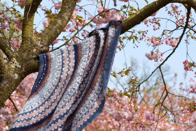 Efflorescent cherry blossom shawl, hanging in the trees in the Harris Gardens