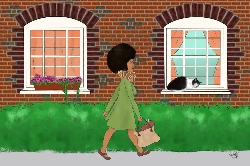 A black woman with an upright posture, a natural afro-hairstyle and a nice knitting bag filled with brick-coloured yarns strides along a street lined with highly-patterned brick walls and a sleeping black and white cat, who is curled up on a window sill