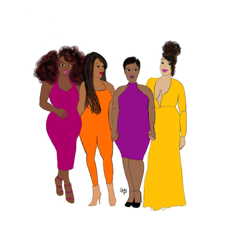 Squad goals - a group of black women wearing beautiful, brightly-coloured outfits stand in line, looking forward with an air of friendship, strength and support