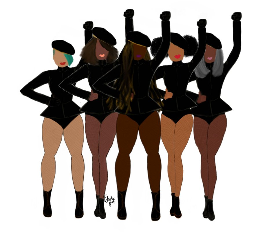 A row of black and brown women, wearing matching outfits of black leotards and berets and standing in formation, in homage to the dancers in Beyoncé's music video of the same name