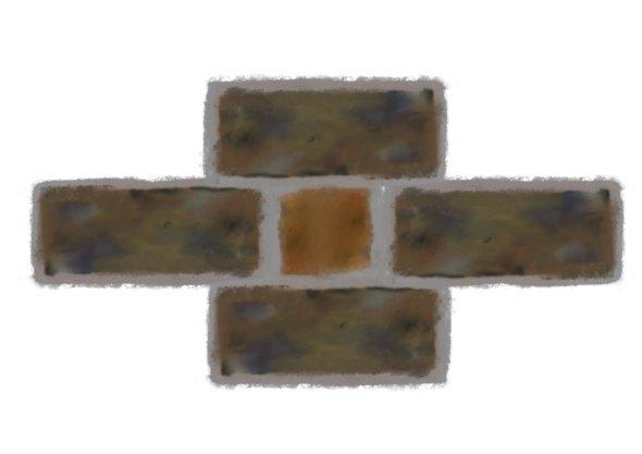 diamond brick pattern detail; grey bricks arranged in a diamond, long-side facing, end on brick (orange) in the centre