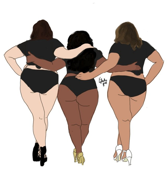 Three full-bodied women linking arms in a beautiful embrace, each with different skin tones and wearing cropped black t-shirts, matching briefs and high heeled shoes. We see them from the back