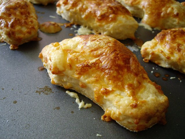 cheesy scone, cut out using a foot-shaped cutter