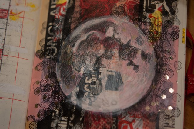 Pink Moon collage made in Salina Jane's Art Class