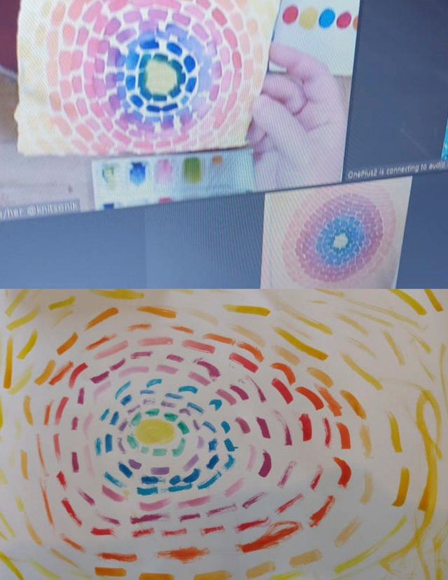 Collaged image featuring my screen, my interpretation of Resurrection as a watercolour, the Alma Thomas painting which we were using as a reference, and my niece's version of the painting (bottom)