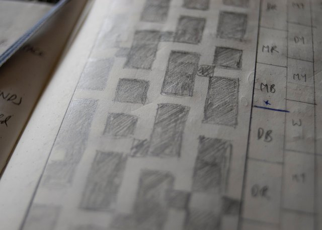 closeup of scruffy, imperfect pencilled chart in bullet journal.