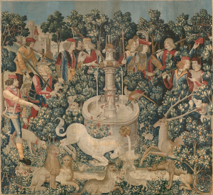 One of the tapestries in the series The Hunt of the Unicorn: The Unicorn is Found, circa 1495-1505, the Cloisters, Metropolitan Museum of Art, New York City