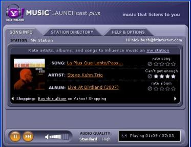 Launchcast plus player