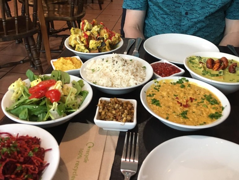 A selection of vegan food