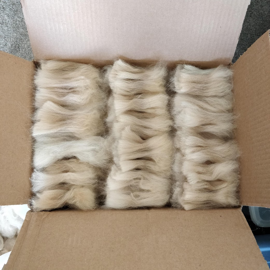 Rows of alpaca locks that have been flicked open at both ends and laid neatly into a cardboard box.