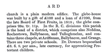 Ardfinnan in Samuel Lewis' 1837 Topical Dictionary of Ireland