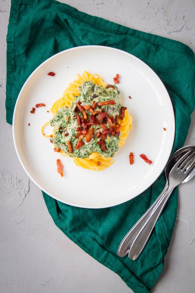 spinazie roompasta met spekjes