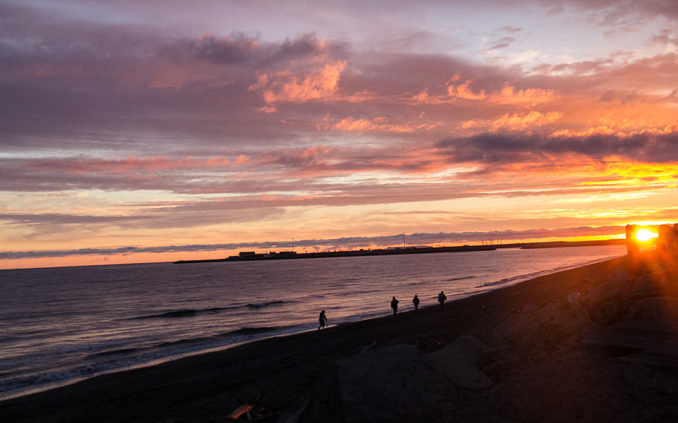 Sunset over Nome beach
