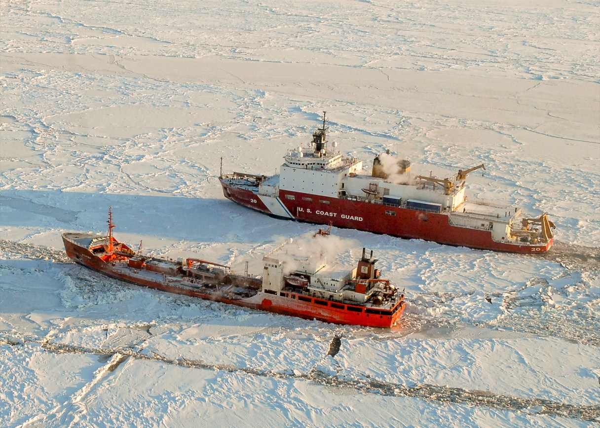 US Coast Guard's Healy escorts Russian tanker Renda, Nome, Alaska, January 2012.