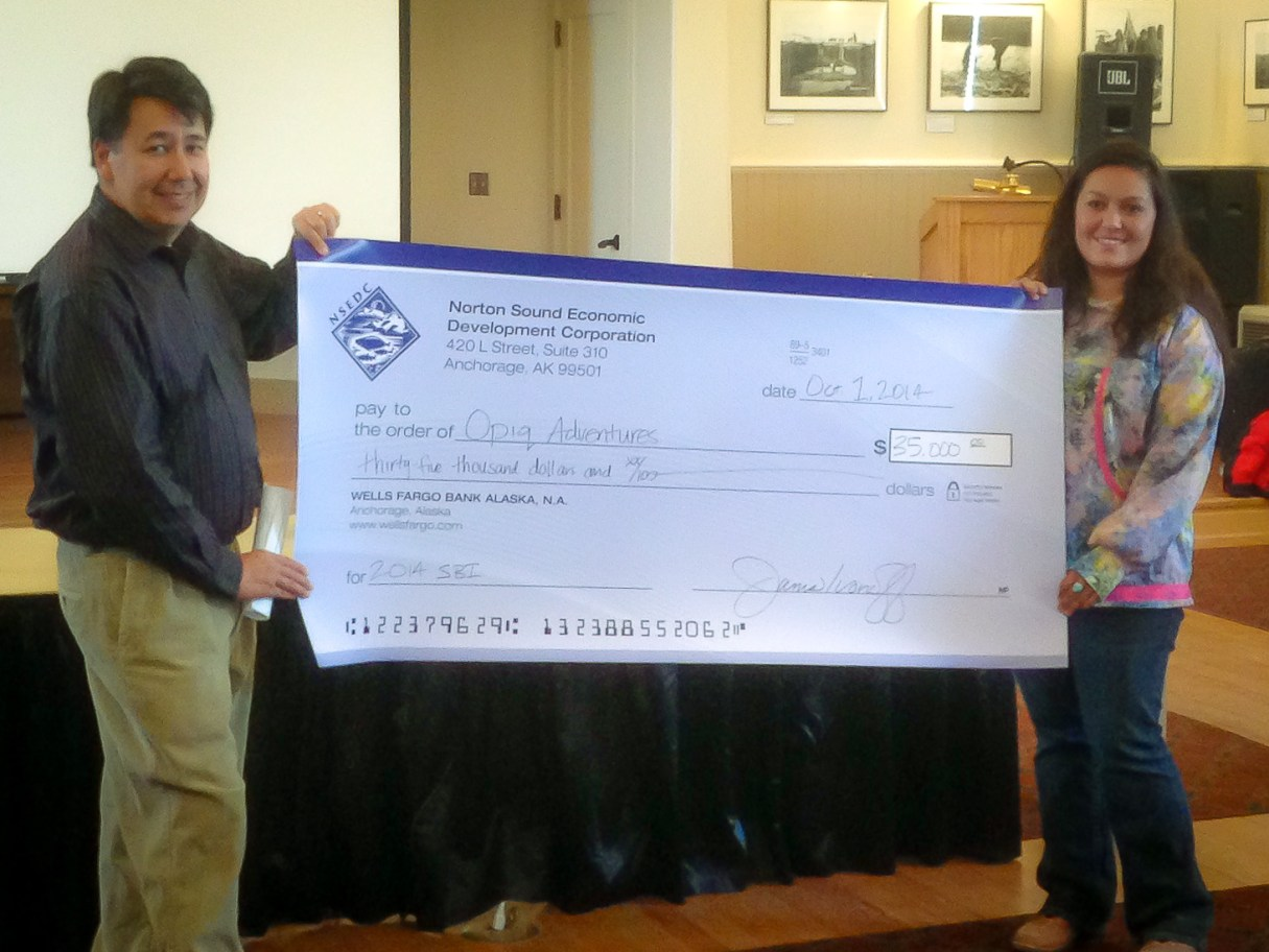 Paul Ivanoff III and Dora Hughes of Opiq Adventures at a past NSEDC's Small Business Initiative Event in Nome. Photo Credit: KNOM