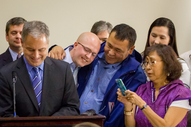 Governor Parnell signs Alaska Native language bill at AFN 2014