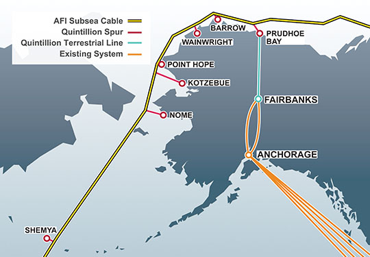 Both the subsea Arctic cable, and a terrestrial cable along the Dalton Highway, are seeing delays that could push the rollout of Quintillion's ultrafast broadband network in rural Alaska to 2016 or beyond. Image: Quintillion Networks.