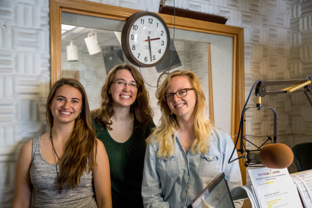 Kristin, Courtney, and Caitlin in Studio A